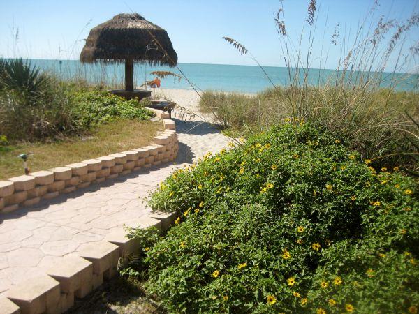 tiki table on beach