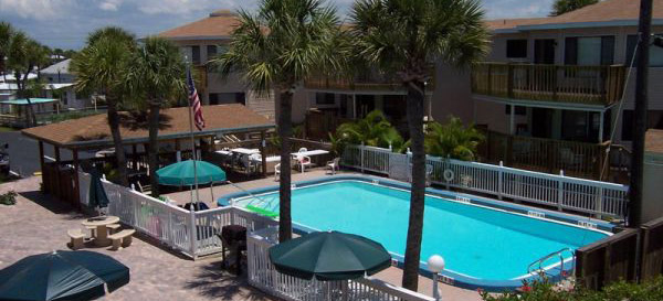 heated pool at Castaways Condos in Englewood, FL
